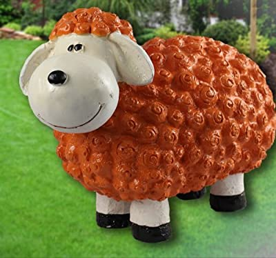 Dekofigur Schaf Gabi in orange bunte Schafe Tier Figuren für Haus und Garten