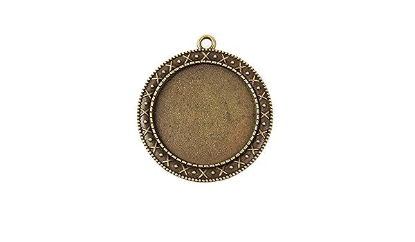 Bronze Farbe DIY-Schmuck Fassung Rahmen Ketten Medaillons Silber Bronze Gold Perlin 6 St/ück Metall Fassungen Anh/änger f/ür 20mm Cabochon