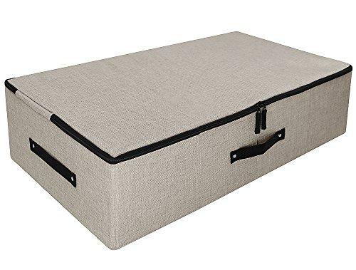 Unter dem Bett Aufbewahrungsbox mit Deckel mit Reißverschluss, abnehmbare Pappe, Tröster Aufbewahrungsbox, Staubdicht Korb für Bettdecken, Beige