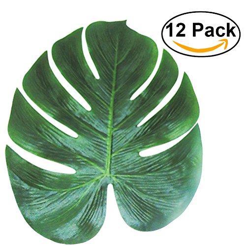 Tinksky Tropical Palm Laisse Simulation Feuille Artificielle Pour Hawaiian Luau Partie Jungle Beach Theme Decorations Pour Fetes 35x29cm Paquet De 12