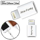[MFI d'Apple certifiée] Xtra-Funky foudre à chargement USB Micro-B, synchro, adaptateur de données pour iPhone, iPod et iPad - Blanc