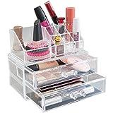 Oxid7® Organizer für Kosmetik Acryl | Aufbewahrungsbox für Make Up und Schmuck | Schmuckkästchen | Schubladenbox Schminke - 15,5x18,8x10 cm - 9 Fächer + 2 Schubladen