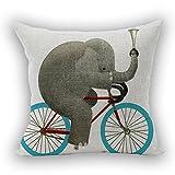 Nunubee Kissenbezug Wohnzimmer deko deko Kissen Shabby chic deko scheibengardine landhausstil Autodekoration Sofa Cover, Fahrrad Elefant 45x45CM