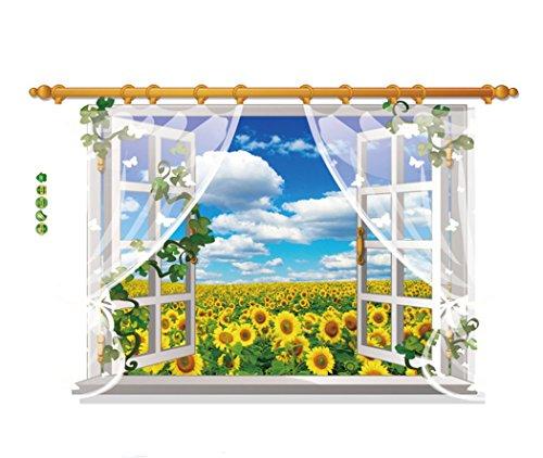 esen-fa Blue Sky White cloud 3D naturale adesivo da parete per soggiorno camera da letto adesivo Art Kitchen Home flower sky(60*90cm)