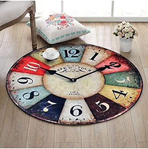 CCMOO Europa Creativo Retro Reloj de Pared patrón Alfombra Redonda Do