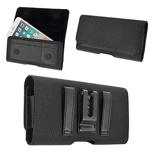 DFVmobile - Nylon Case Metal Belt Clip Horizontal Textile and Leather für => LYF Wind 4S > Black -