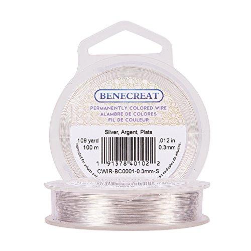 BENECREAT - 28 GA Fil de cuivre Pourquoi coloré Wire, 100 m/99,7 m., Argent