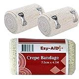 12pk Ezy-Aid Crepe Bandage 7.5cm x 4.5M - Premium Quality