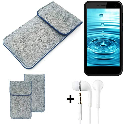 K-S-Trade® Filz Schutz Hülle Für -Energizer H500S- Schutzhülle Filztasche Pouch Tasche Handyhülle Filzhülle Hellgrau, Blauer Rand + Kopfhörer