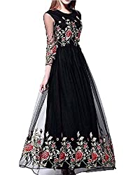Muta Fashions Women's Net Dress (GOWN00059_25_BLACK_Free Size)