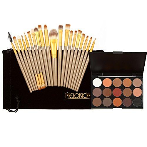 La Cabina 15 Couleurs Palette de Maquillage Fond de Teint Couleurs de Terre + 20 PCS Pinceaux Brosse de Maquillage pour Visage Yeux Joue Lèvres + Sachet en Flanelle