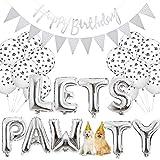 Legendog Hund Geburtstag Set, Hunde Geburtstag Deko, Happy Birthday Ballons, Set Geburtstag Dekoration Zubehör (Silver)