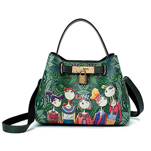 JunBo Handtasche, Forest Print Bucket Bag Schultertasche, Größe Länge 22 cm Breite 11 cm Höhe 16 cm -