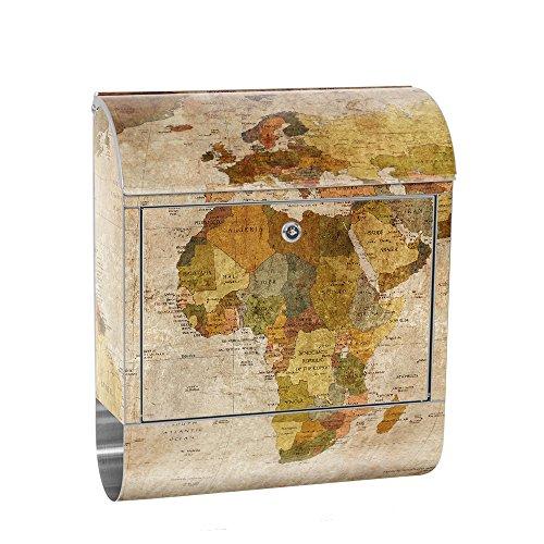 liwwing Briefkasten Edelstahl mit Motiv und Zeitungsfach, Zeitungsrolle als XXL Design Wandbriefkasten | Weltkarte Antik Atlaskarte alte Karte Atlas | no. 0029