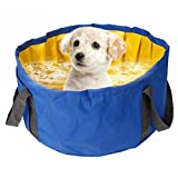 Alaof Faltbar Hunde Schwimmbad Hundepool Katzenpool Tragbar Schwimmen Dusche Wanne Becken Haustier Katze Schwimmbad Bad Wanne Zum Klein Hunde Haustier Reise Waschen,Blue,18.1in