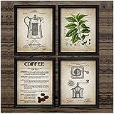 NR Arte della Parete Creazione di caffè Stampa Poster Vintage caffè Percolatore e Chicco di caffè Tela Pittura Tipi di Foto di caffè Decorazioni per la casa40x60cmx3 Senza Cornice