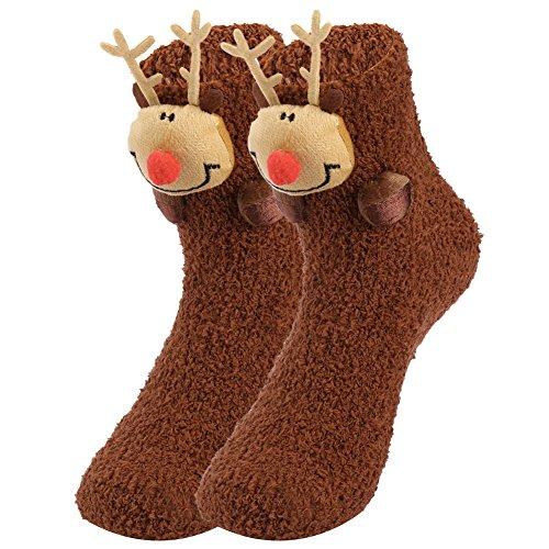 Vbiger Damen & Herren Weihnachten Socken Winter Socken Rutschfeste Griff Boden Socken -