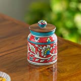 ExclusiveLane Mughal Cylindrical Floral Hand-Painted Multi Utility Kitchen Storage Ceramic Jar & Container (380 ML) - Multipurpose Decorative Box Cookie Jars Dining Table Accessories