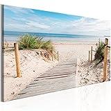 murando - Bilder Strand 135x45cm - Leinwandbilder - Fertig Aufgespannt - Vlies Leinwand - 1 Teilig - Wandbilder XXL - Kunstdrucke - Wandbild - Landschaft Meer c-B-0158-b-a