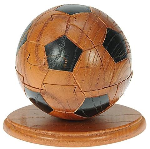 Football, Soccer 3D Puzzle en bois + porte-clés gratuit: nouveauté d'amusement de Noël et cadeau d'anniversaire: Idée teaser de cerveau cadeau: Jigsaw: Ornement: Cadeaux pour les enfants, les hommes, les femmes, les adultes et les fans de football: Taille 10,5 x 13,5 x 9.5cm Prime Day