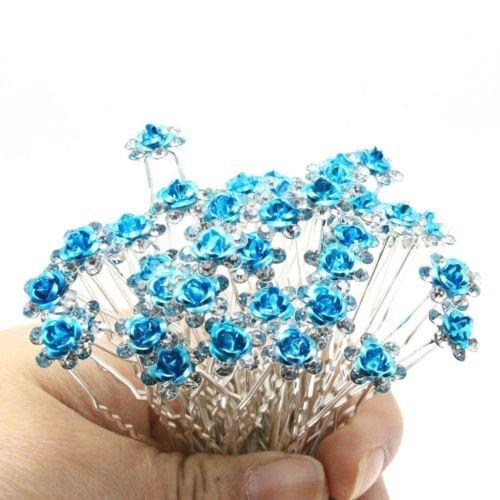 Accessoires cheveux coiffure mariage 1 lot de 5 épingles à chignon fleurs à strass bleu clair