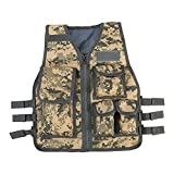 Nylon Outdoor Multifunktion Weste Verstellbare Outdoor CS Spiel Airsoft Angelweste mit 5 Kleinen Taschen für Kinder von 8-14 Jahren Alt ( Farbe : ACU )