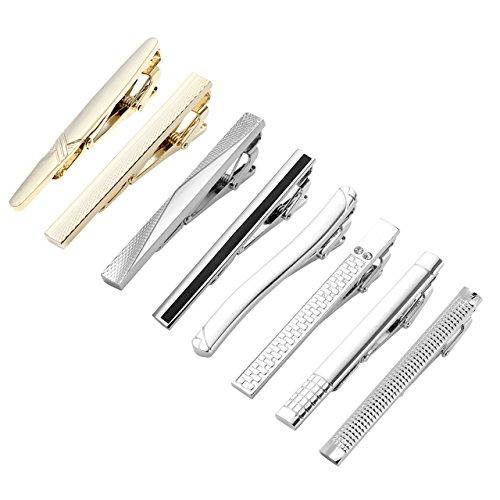 PiercingJ - 8PCS Mixtes Epingle Pinces a Cravate Poignet Fin Slim Skinny Col Manchette Chemise Clip Tie Acier Inoxydable Elegant Delicat Business Classique Homme Cadeau Set#02