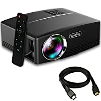 Yaufey® 1800 Lumens Projector with Free HDMI Cable, Portable Mini LCD Projector Support HD 1080P Video, Ideal for Multimedia Home Cinema Theatre Entertainment