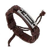 SanJiu Armschmuck Herren Armband Legierung Echtleder Handgefertigt Geflochten Lederkordel mit Kreuz Verstellbaren Größen Armreif Lederarmband für Männer Herren Braun Silber