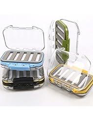 Bazaar Caja señuelo de la pesca con mosca de doble cara impermeable frente a casos de cebo gancho 3colors caja