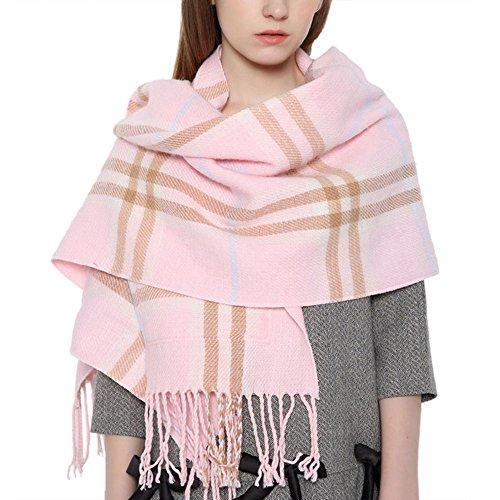 (UTOVME Damen Mädchen Mode Schal Umhang länge Tartan Schal mit Quaste pink)