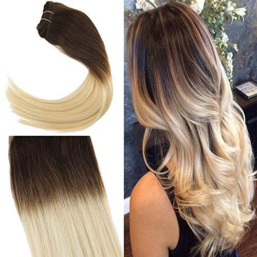 Sunny dip dyed marrone scurissimo al biondo platino extension capelli veri clip full head naturali remy hair 120grammi/set 18inch/45cm