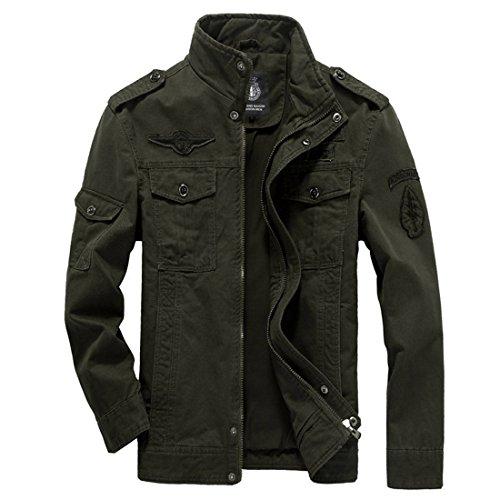 GWELL Herren Jacke Fliegerjacke Übergangsjacke Bomberjacke Militär Piloten Jacket für Winter Herbst Frühling Grün 3XL