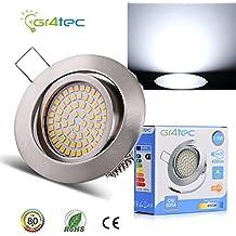 Gr4tec 3.5W Foco Empotrable LED Techo Downlight Spot Ultra Delgado Blanco Neutro 4000K 400Lm Equivale a 35W 230V Ángulo Rotable 40° Ra80 Marco Redondo