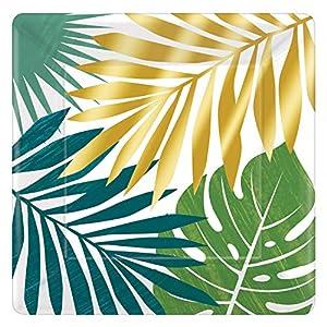 Amscan International Amscan 592283 - Platos de papel cuadrados, 25 cm, 8 unidades, color dorado
