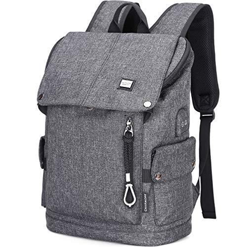 Charmore Travel Laptop Rucksack Computertasche für Männer Diebstahlsicherung Nylon Wasserdichte College Schultasche Business Rucksack mit USB-Ladeanschluss Passend für 15,6