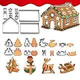 Amasawa 18 Stück 3D Weihnachten Ausstechformen Edelstahl Ausstecher Set für Halloween Geburtstag Weihnachten Thema Kekse
