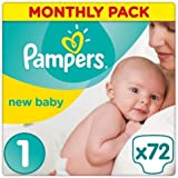 Pampers Premium Protection New Baby Gr. 1 Newborn 2-5kg HalbmonatsBox, 72 Stück
