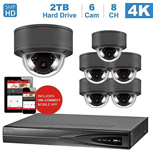 8 Ports NVR Kits 4K Home Security System, mit 6 IP Poe Kamera 5MP Outdoor wetterfest, einschließlich 2 TB HDD (NVR von Hikvision) Home Security-kamera-kit
