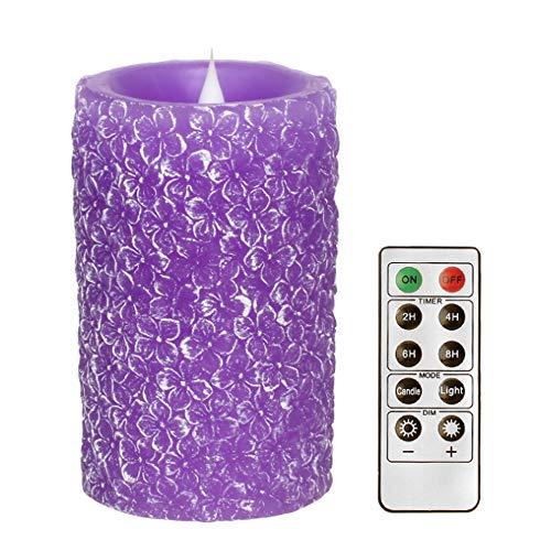 äule LED Farbe flackernde Kerze Timer mit Timer und Fernbedienung, Home Decor Muttertagsgeschenk - grüner Klee,Purple ()