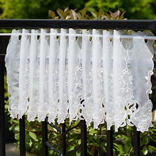 wemay Panel Stickerei Pastoral-Stil Cafe Vorhang Vorhang Küche Blumen Fenster Volant, 45,7x 152,4cm White Swan - Swan Küche