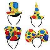 Gazechimp 4 Stück Bunt Haarreif Clown Hut Stirnband Haarband Zirkus Kopfschmuck für Cosplay Karneval Party Dekor