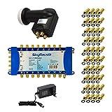 SkyRevolt SAT-Multischalter-Set 5/16 Multiswitch externes Netzteil Quattro LNB 1 Satellit bis 16 Teilnehmer DVB-S2 HDTV FullHD UHD 4K inkl. 40x F-Stecker mit Dichtring GRATIS DAZU