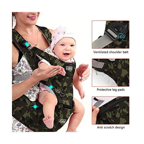 "BeeViuc Front Premium Hipseat Baby Carrier for Newborn, Baby Sling, Multifunctional, Ergonomic, 100% Cotton, Butterfly Rotary Buckle, 6 Carrying Positions - Camouflage Green BeeViuc Ultimate Comfort For Baby - The Baby Carrier is Used Soft Classical Cotton With Polyester Touching. Suit For Baby Who is Between 3-36 Months and 0-20 KG. Ultimate Comfort For Parents - An adjustable Velcro Waist Strap That Puts Some Of The Weight On Your Hips. Ultra Extand And Soft Padded Shoulder Straps For The Best Comfortable For All Parents. Baby Hip Healthy - Enable Your Baby To Be Seated in An Optimal Natural ""M Shape"" Position From Newborn To Toddler. The Carrier Has Been Acknowledged As a ""Hip-Healthy"" Product By The International Hip Dysplasia Institute. 3"