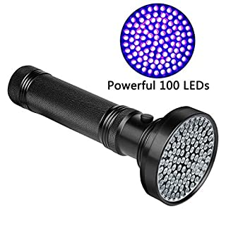 Veetop UV Flashlight Blacklight, 100 LED 18W 395nm Ultraviolet Black Light Detector Aluminum Handheld Torch Light for Pet Dog Cat Urine & Stain Detection,Scorpions,Bed Bugs,Home Hotel Inspection