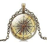 Unisex Retro Stil Versand Kompass Glas Zeit Edelstein Anhänger Lange Bronze Kette Halsband Halskette