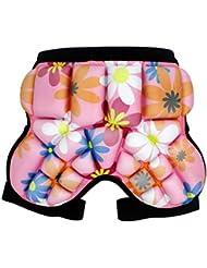 QHGstore Niños Niños prendas de vestir exteriores de la historieta de hockey cadera pantalones de cortocircuitos pista pistas protectoras flor rosa