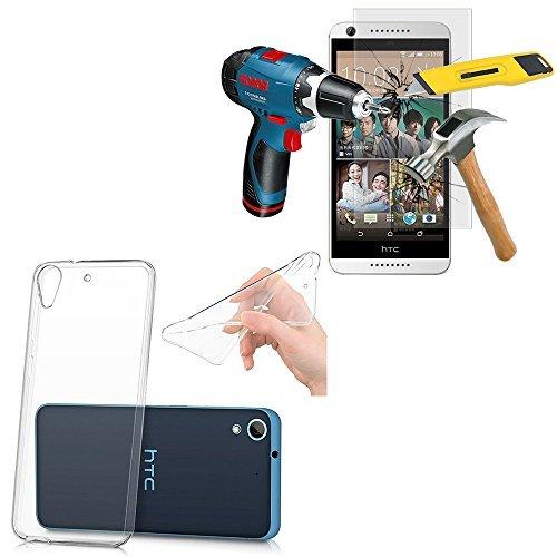 VCOMP® Coque gel UltraSlim et Ajustement parfait couleur TRANSPARENT + 1 Film Verre Trempé pour HTC Desire 626/ 626s/ 626G/ 626G+/ 626 (USA)