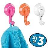 mDesign crochets salle de bain et/ou cuisine – lot de trois crochets muraux en plastique – porte serviette sans perçage – rose, orange et blanc