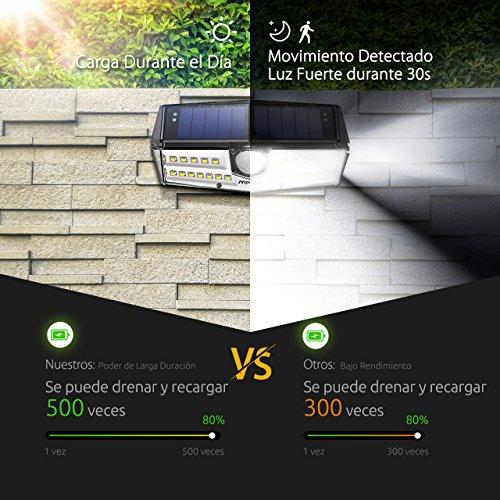Mpow Nueva Generación 30LED Sensor de Movimiento de Luz Solar con 1 Mode Potente IPX6+ Impermeable Panel Solar SunPower Líder en la Industria Lámpara de Pared Brillante Cabezal Sensor Gran Angular Mejorado de 120° 30 LED Mejorados para Alto Brillo Gran Luz Exterior para Jardín Entrada Patio Garaje